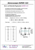 Maßblatt Regalsystem SUPER 1-2-3. Zum Download auf die Detailseite gehen