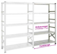 Fachboden-Anbauregal SUPER 1 600 x 500 x 2200