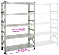 Fachboden-Grundregal SUPER 1 600 x 400 x 2200