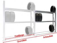 Reifen-Anbauregal TSL für SUV-LLKW und große PKW-Reifen H=2500 mm 3 Ebenen