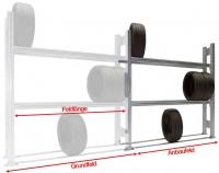 Reifen-Anbauregal TSP für SUV und PKW-Reifen H=2000 mm 3 Ebenen